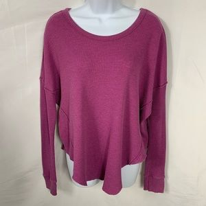 Free People Pink Oversized L/S Waffle Top Tee M